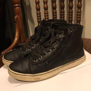 UGG tassel black leather high top sneakers